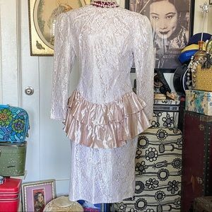 80's lace and metallic pink Lamé confection